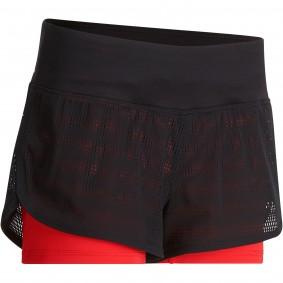 Fitnesskleding Dames - kopen - Adidas 2-in-1 fitnessshort dames, zwart/rood