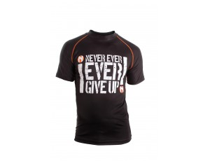 Fitnesskleding Heren - Heren Shirts en Polo's - kopen - Nihon Sport Shirt Never Give Up – Heren – Zwart / Wit – XXL
