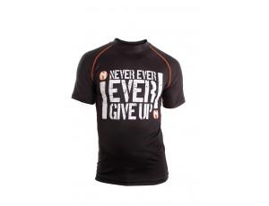 Fitnesskleding Heren - Heren Shirts en Polo's - kopen - Nihon Sport Shirt Never Give Up – Heren – Zwart / Wit