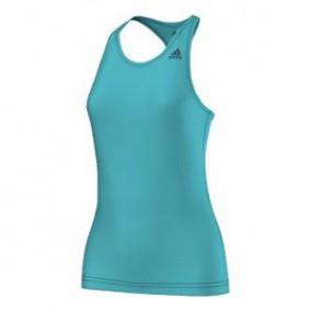Fitnesskleding Dames - kopen - adidas Basic Solid Tan tennistop dames turquoise